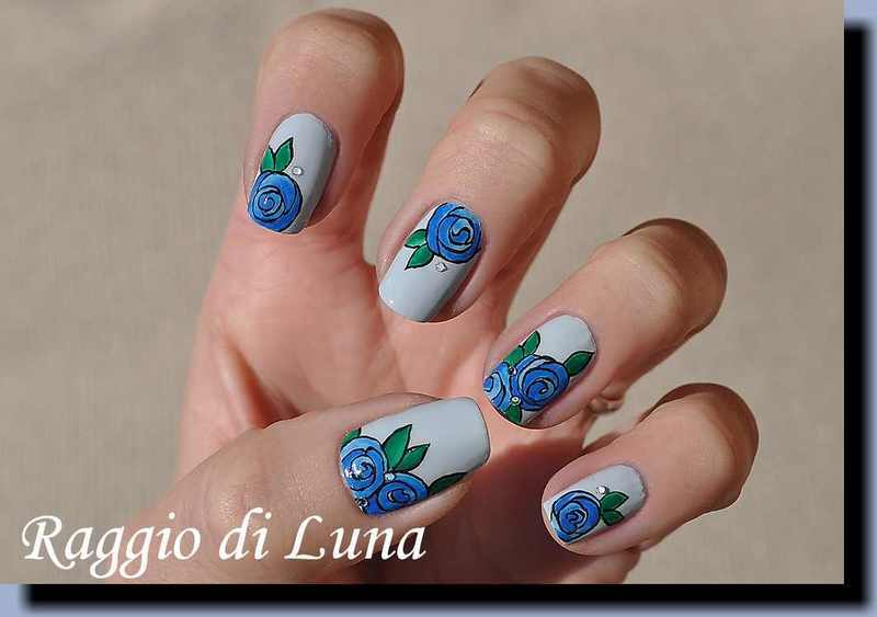 Blue roses on light blue nail art by Tanja