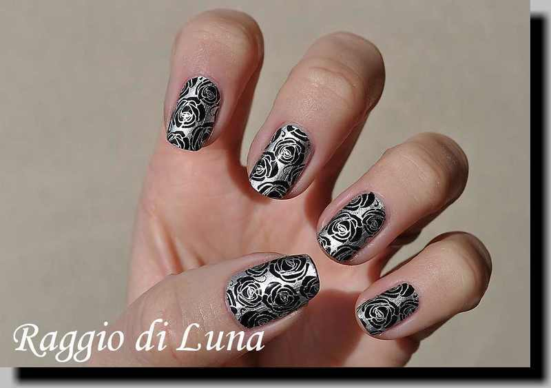 Stamping: Black roses on metallic silver nail art by Tanja