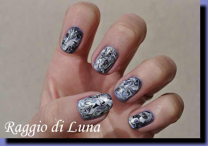 Marble manicure purple & white & silver & black nail art by Tanja