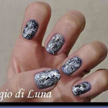 Marble manicure purple & white & silver & black nail art by Tanja
