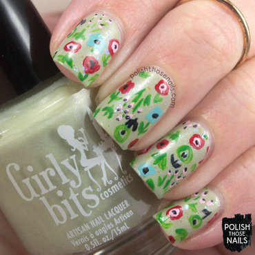 1950s neutral glitter abstract floral pattern nail art 4 thumb370f