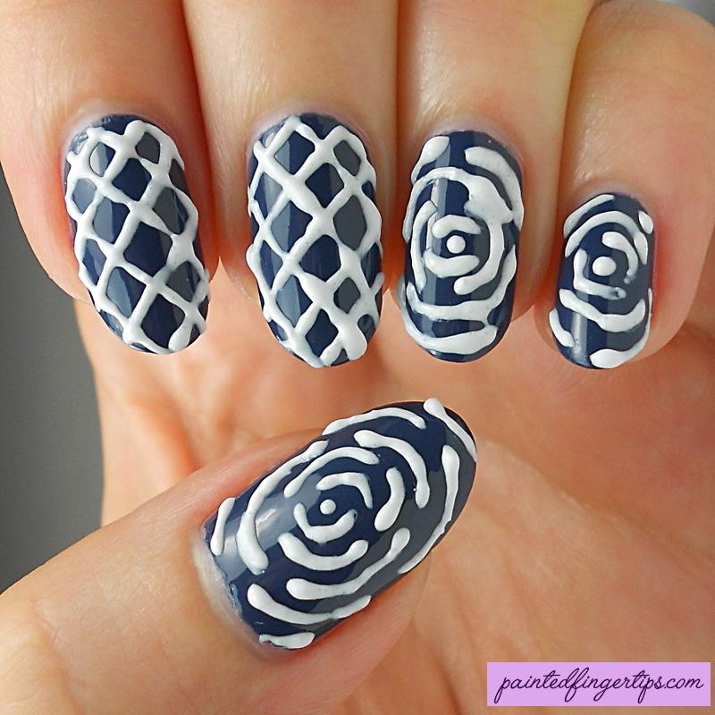 Madam Glam 3D gel pattern nail art by Kerry_Fingertips