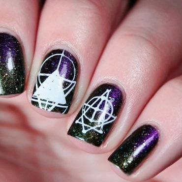 Galactic ombre & stamping nail art by Romana