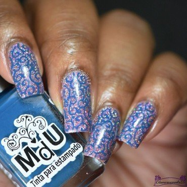 Blue Swirls Stamping Nail Art nail art by glamorousnails23