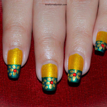 Gold Flowers on Green Tips Nail Art nail art by Demi