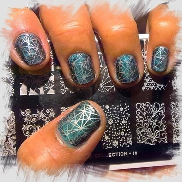 Stamping over Black, Baby Blue and Charcoal #fanbrushfriday nail art by Avesur Europa