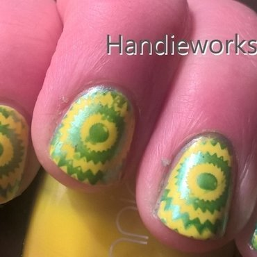 Neon and Spirals nail art by Sazjay