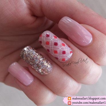 Pink And Gold Valentine's Day Nail Art Design nail art by Make Nail Art