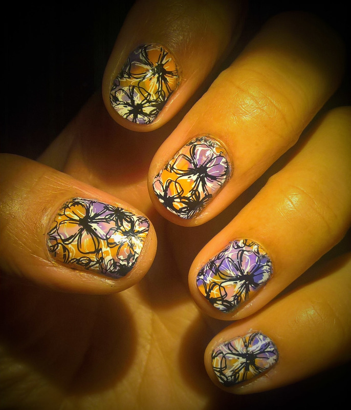 Double stamping over #smooshynailsunday  nail art by Avesur Europa