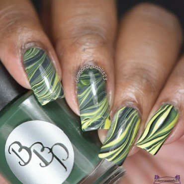 Watermarble Wednesdays: Green, Yellow & Black nail art by glamorousnails23