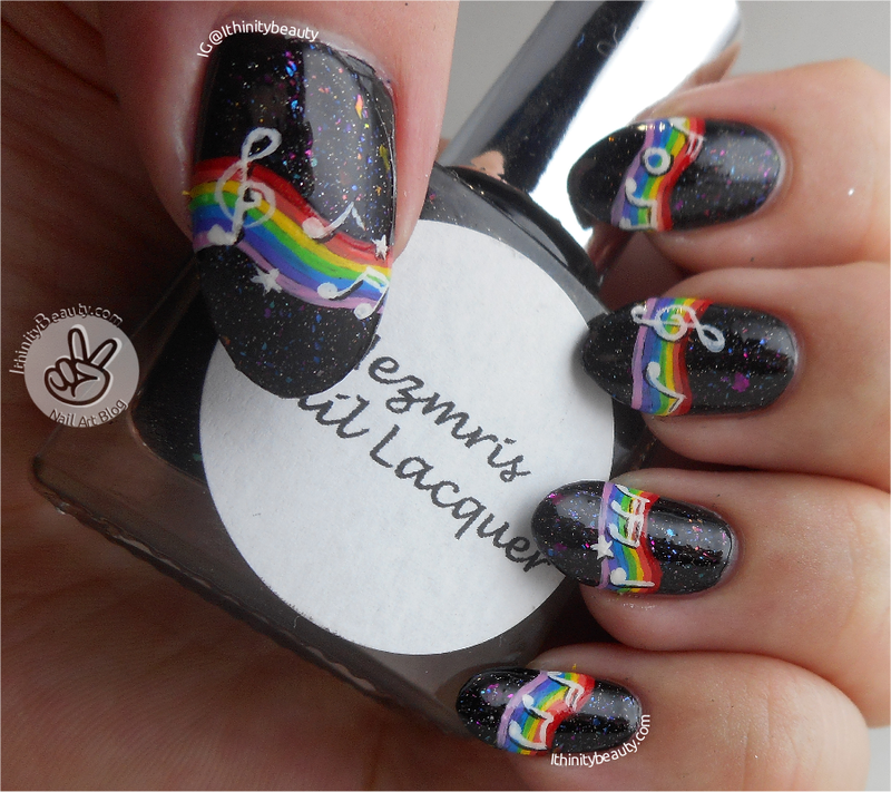 Freehand Musical Rainbow! nail art by Ithfifi Williams