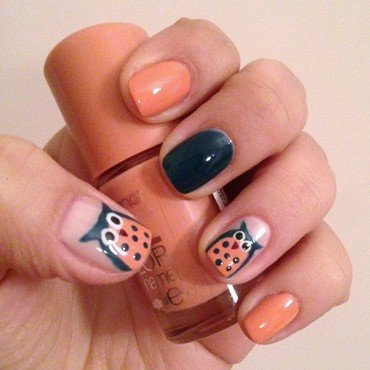 Cute Owls nail art by Deniz