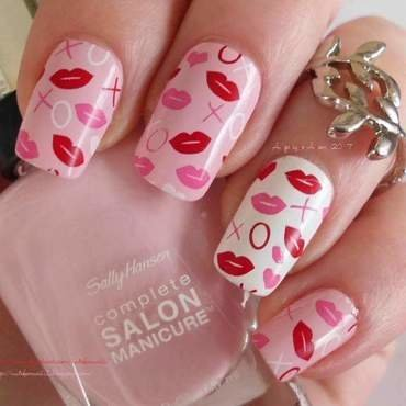 Valentine's Day Kisses nail art by Angelique Adams