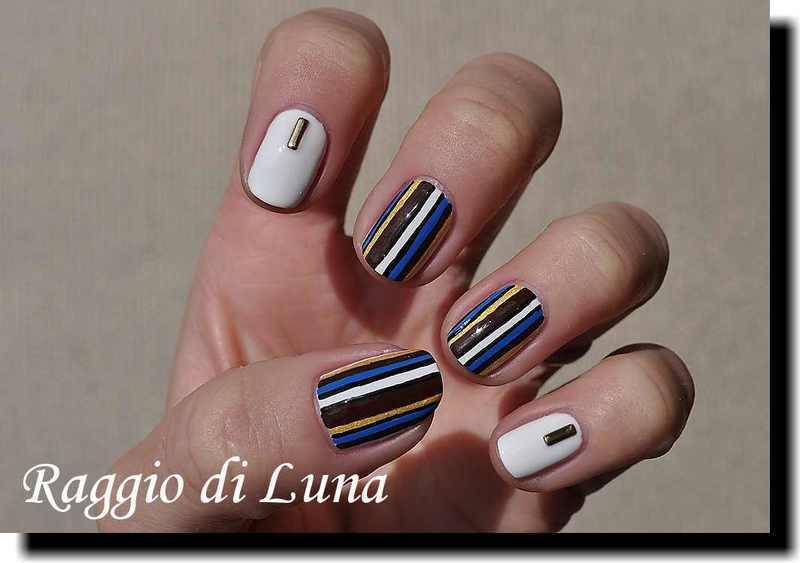 Vertical stripes black & brown & white & blue & golden nail art by Tanja