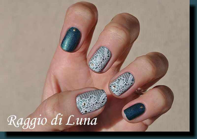 Stamping: Lace pattern on green nail art by Tanja