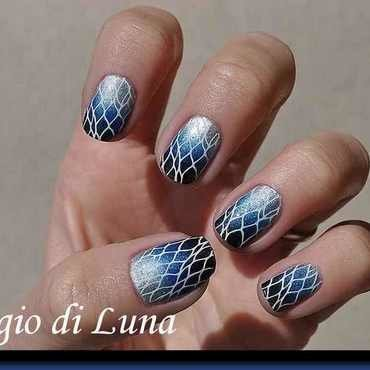 Stamping: White net on silver & blue & black gradient nail art by Tanja