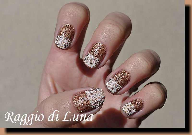 Stamping: White & brown flowers on taupe holo nail art by Tanja