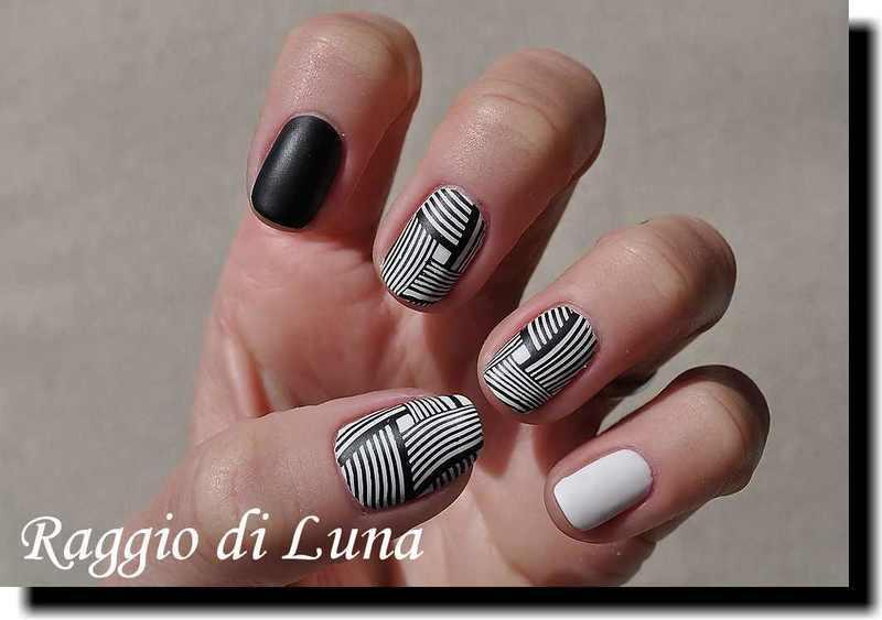 Stamping: Black geometric pattern on white nail art by Tanja