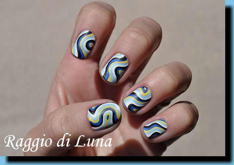 Curved Lines In Art : Abstract curved lines manicure nail art by tanja nailpolis