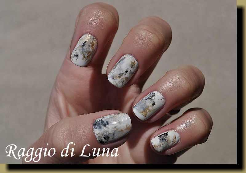 Abstract marble nails white & black & grey & golden nail art by Tanja