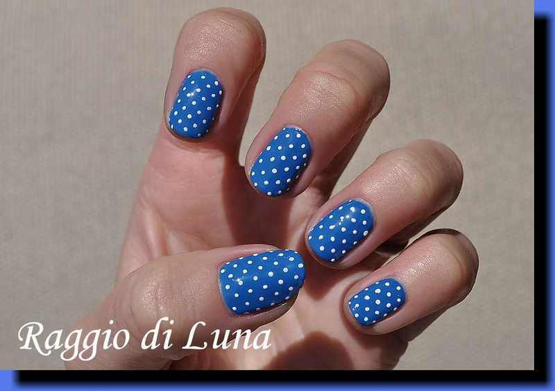 UV gel manicure - White dots on blue nail art by Tanja