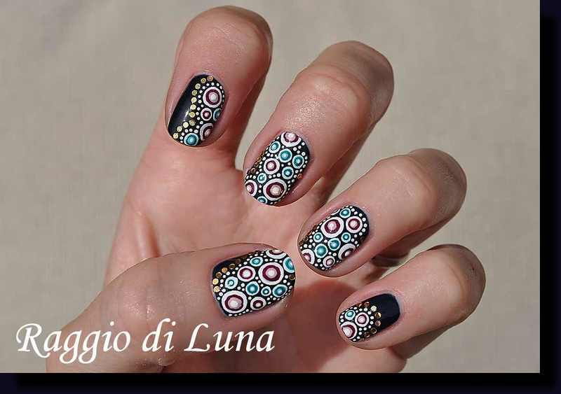 Dots on dark blue nail art by Tanja