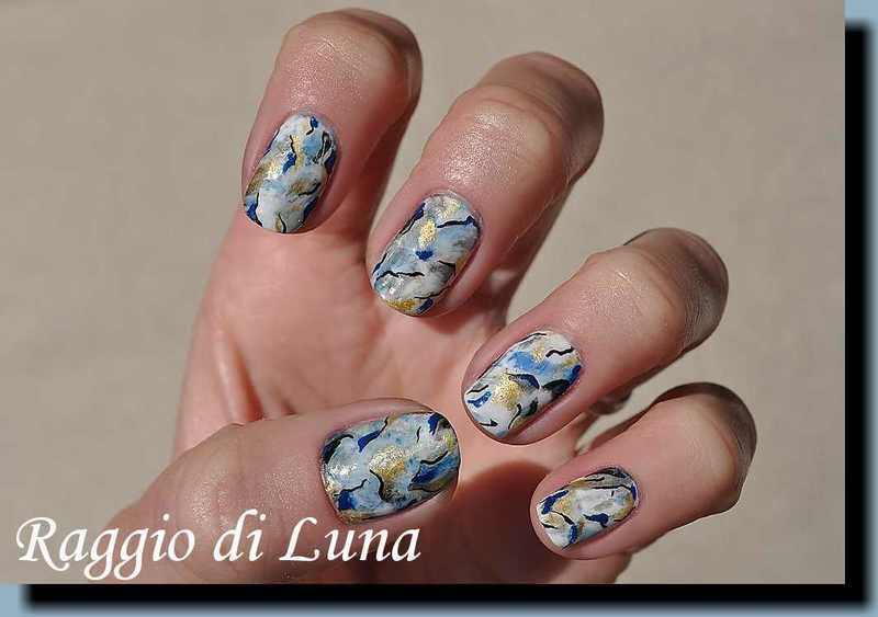 Abstract marble nails white & black & golden & blue nail art by Tanja