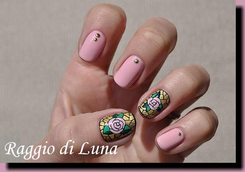 Candy pink rose mosaic nail art by Tanja