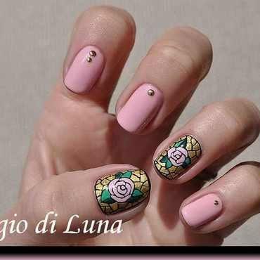 Candy pink rose mosaic nail art by Tanja