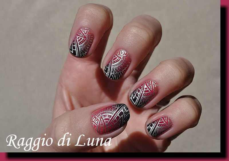 Stamping: Silver tribal pattern on cyclamen & black gradient nail art by Tanja