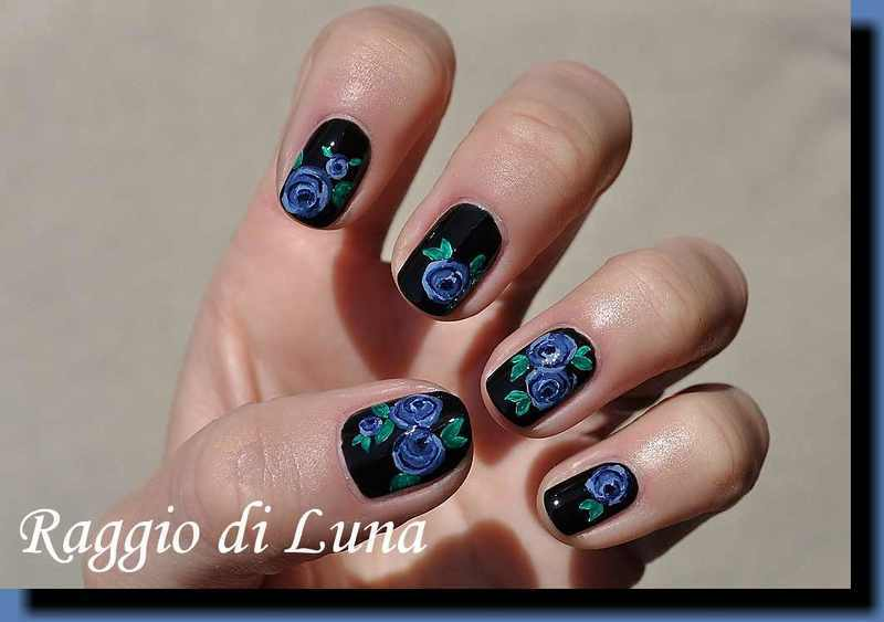 Blue roses on black nail art by Tanja