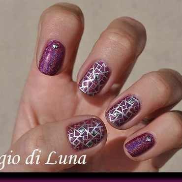 Stamping: Silver geometric pattern on purple holo nail art by Tanja