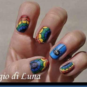 Rainbow spider web nail art by Tanja