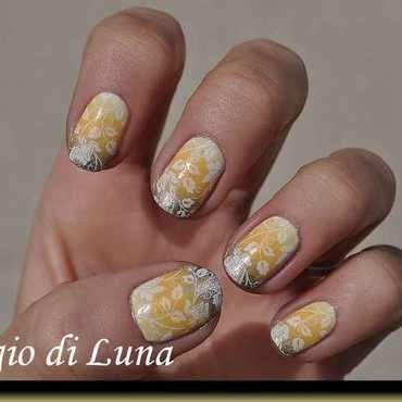 Stamping: White roses on yellow & orange & golden gradient nail art by Tanja