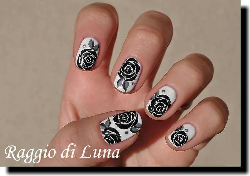 UV gel manicure - Black roses on white nail art by Tanja