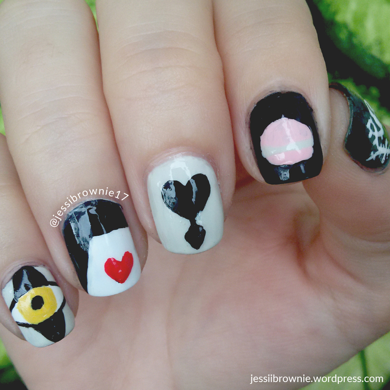 Heartless - The Polished Bookworms nail art by Jessi Brownie (Jessi)