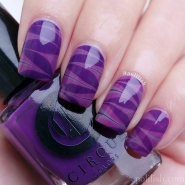 Purple watermarble nail art by polilish