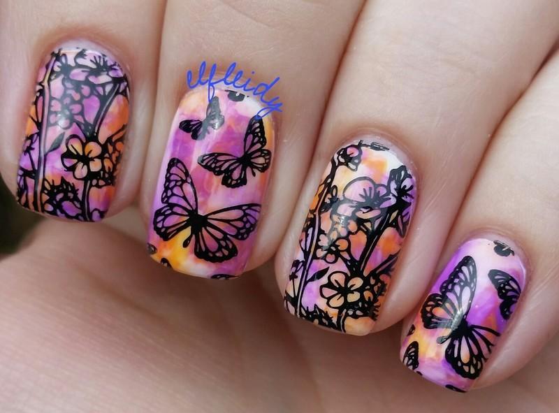 Stamped smoosh nail art by Jenette Maitland-Tomblin
