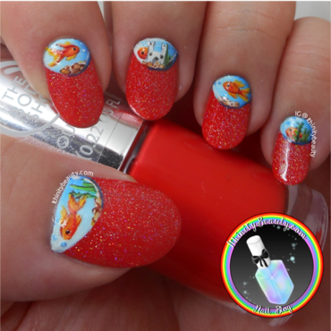 Freehand Fish Bowl - Half Moons! nail art by Ithfifi Williams