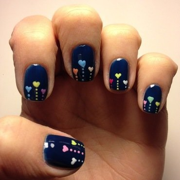 Colorful Hearts nail art by Deniz
