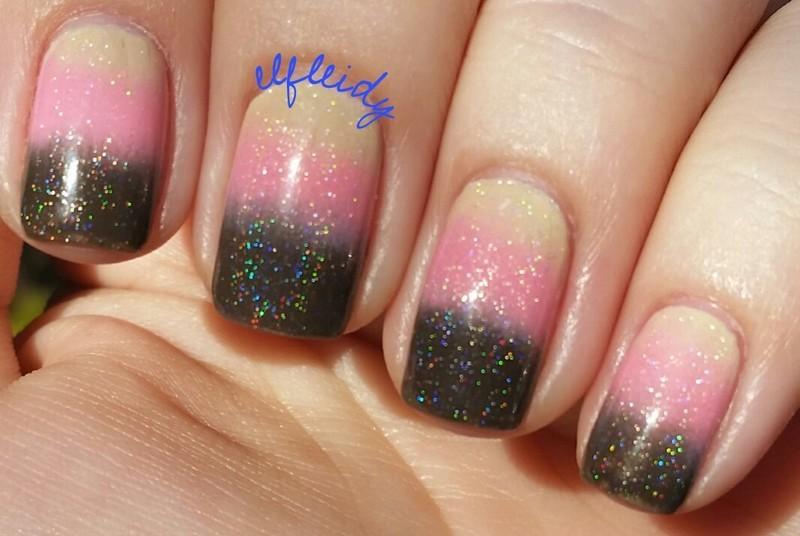 Neapolitan ice cream gradient nail art by Jenette Maitland-Tomblin