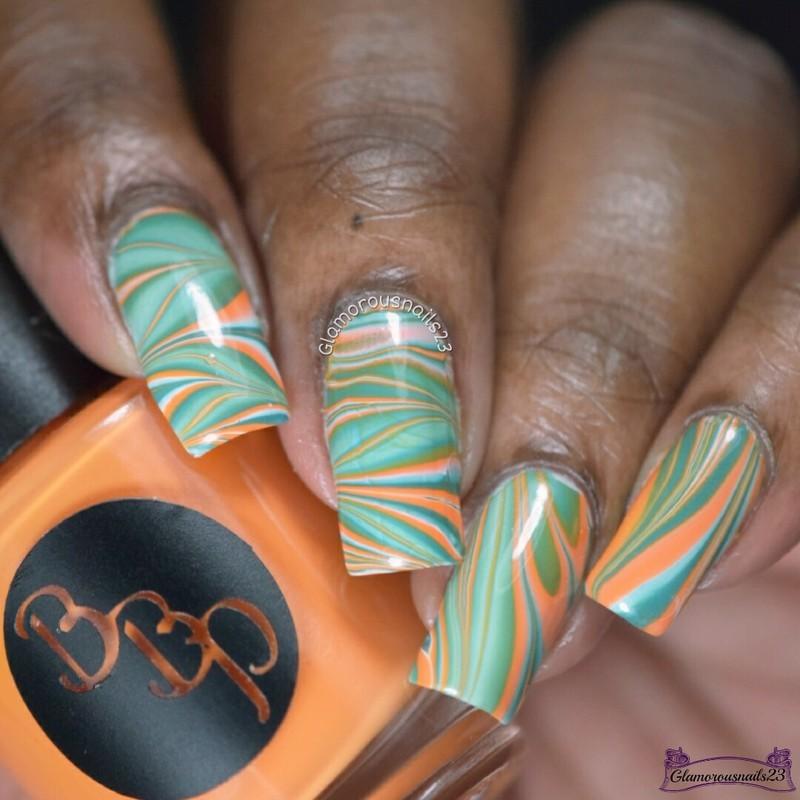 Watermarble Wednesdays: White, Orange & Jade nail art by glamorousnails23