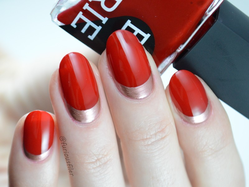 Valentine's Day Ruffian nail art by Furious Filer