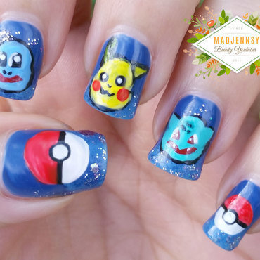 Pokemon Nail Art ★ Pikachu ★ Squirtle ★ Bulbasaur ★  nail art by madjennsy Nail Art