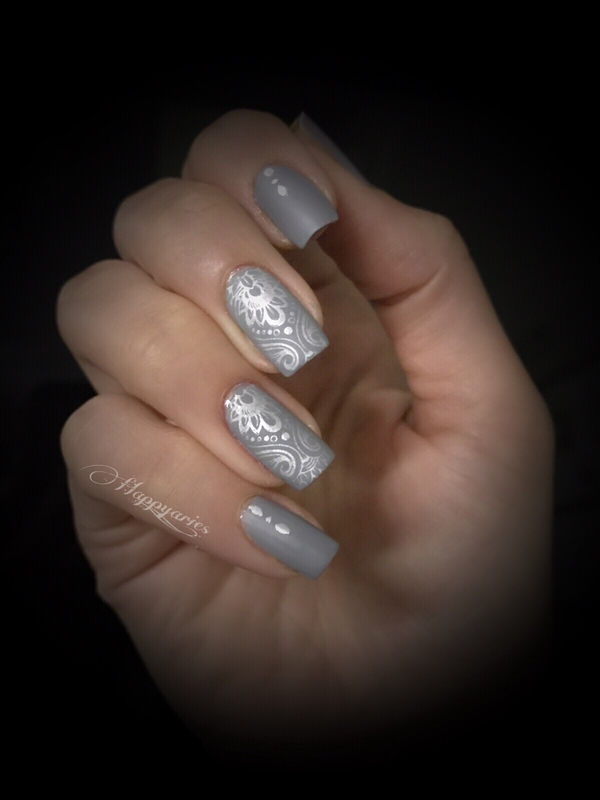 Gray and Silver nail art by Happy_aries