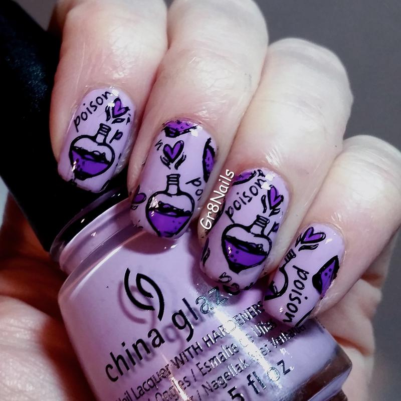 Love Potion nail art by Gr8Nails