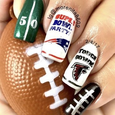 SuperBowl Nails 2017 nail art by Morenita  Morena