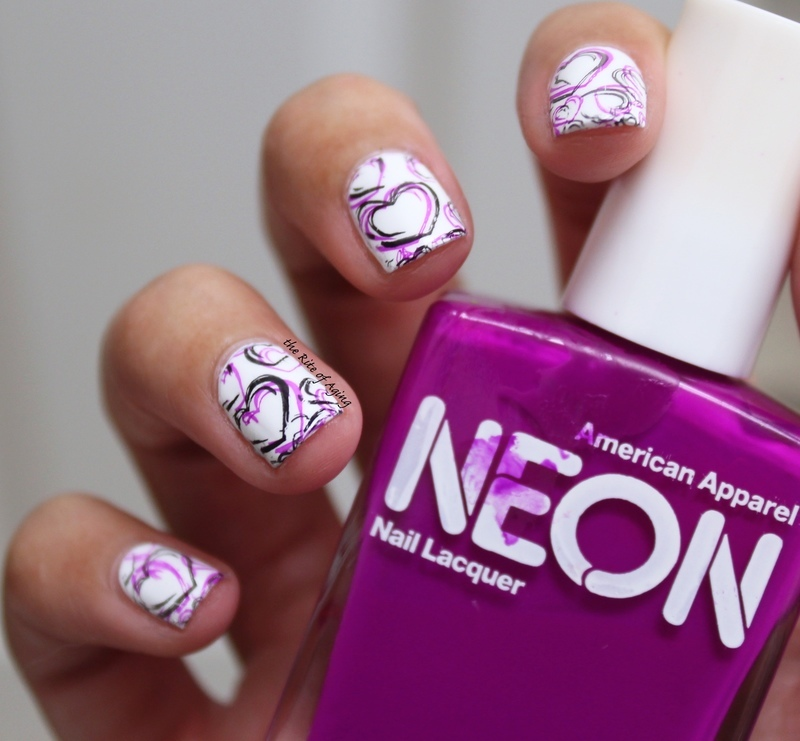 Sketchy Hearts Stamping nail art by Monica