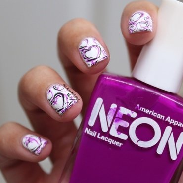 Sketchy Hearts Stamping nail art by Monica