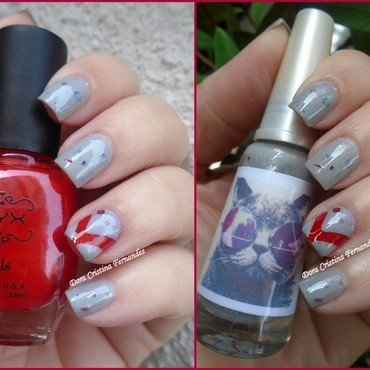 Red and Grey nail art by Dora Cristina Fernandes